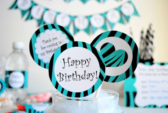 Zebra PRINTABLE Party Birthday Package  Black and by Mariapalito, $10.00