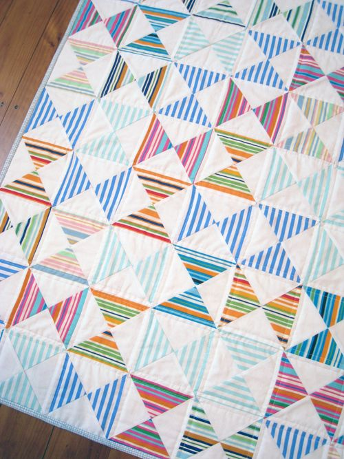 """I like the striped hourglasses here in this """"Stripey Quilt 1"""" by Jacqueline of BIND, guest posting at Sew Mama Sew."""
