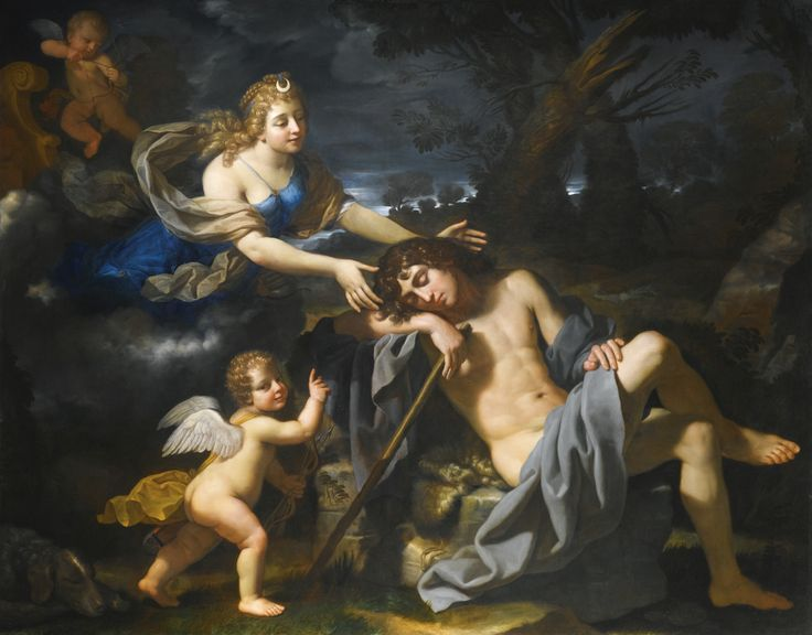 Benedetto Gennari CENTO 1633 - 1715 BOLOGNA DIANA AND ENDYMION oil on canvas 177 by 224.5 cm.;  69 3/4  by 88 1/2  in.