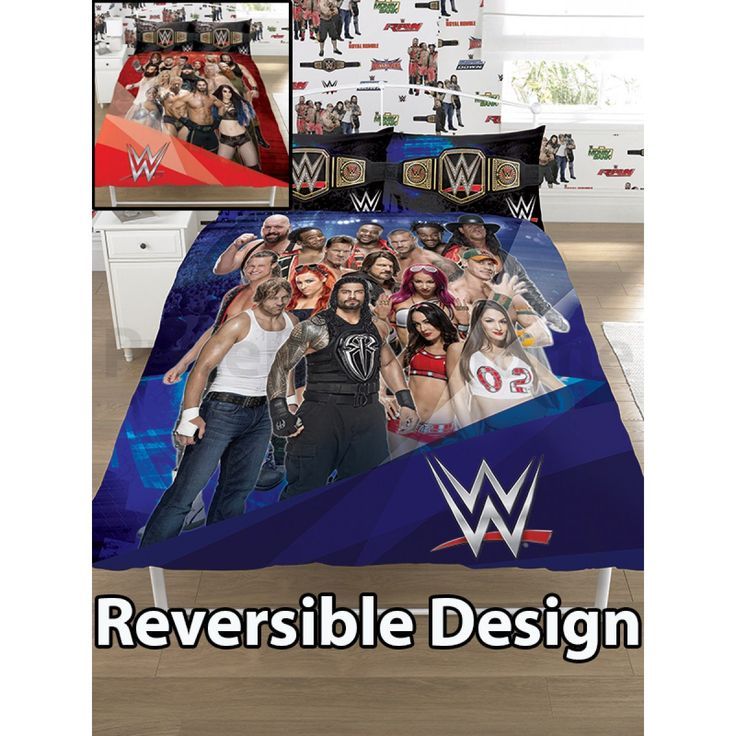 This cool WWE Face V Heel Double Duvet Cover and Pillowcase Set features famous WWE stars on both sides. Free UK delivery available