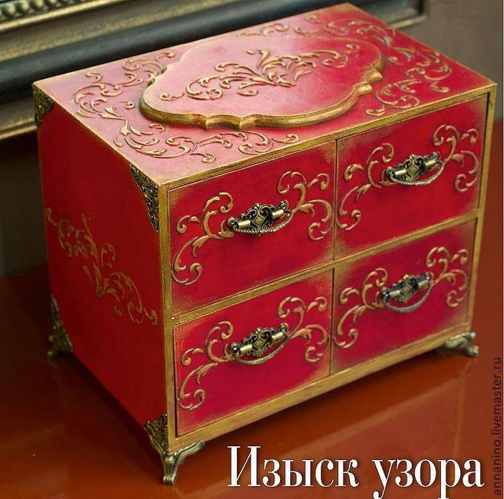 Купить Мини-комодик Мулен Руж Изыск Узора - ярко-красный, комод, комодик