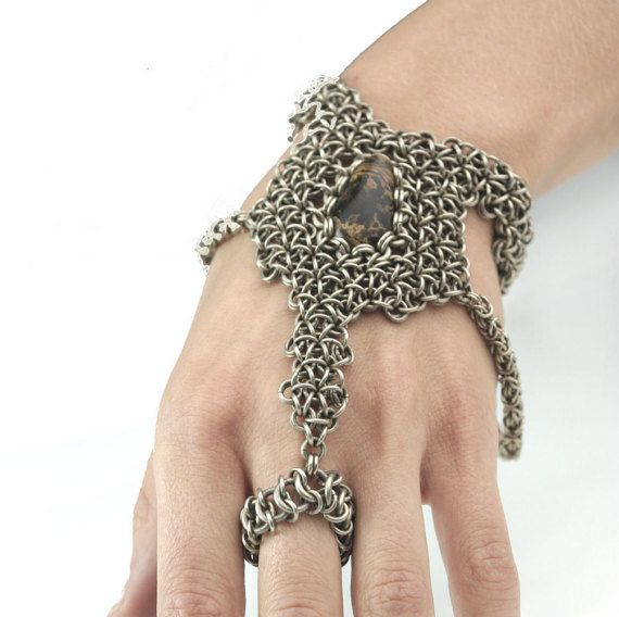 Chainmail bracelet  with chainmail rings/ring by ArtePora on Etsy