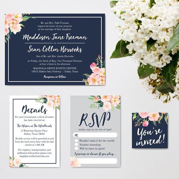 Wedding Invite Printable Wedding Invitation Templates Online Etsy Wedding Invitations Printable Templates Inexpensive Wedding Invitations Diy Wedding Invitation Kits