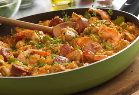 This Louisiana Creole-inspired dish is hearty and loaded with fantastic flavor. Chicken, sausage, shrimp and fresh veggies are simmered in a savory tomato soup mixture. Wow your family by serving it tonight for dinner, it