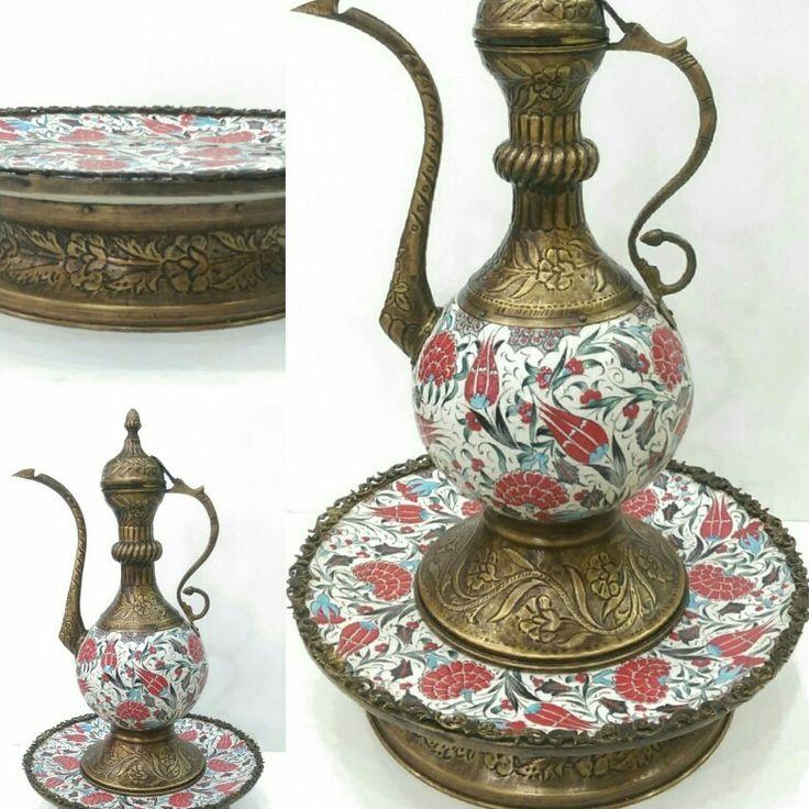 Ceramic pitcher and copper. Seramik ve dövme bakır ibrik.