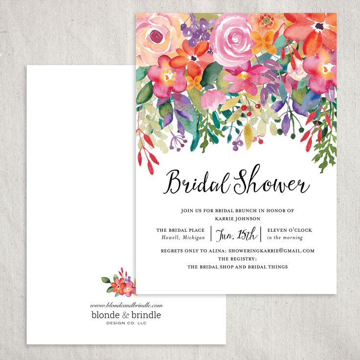Absolutely stunning floral bridal shower invitation! The perfect invitation for a spring or summer bridal shower! Adorned with an abundance of lush cascading flowers; a seamless design for a garden party! This invitation is all about the details! Add a coordinating envelope to tie the whole design together! Blonde & Brindle Design Co.
