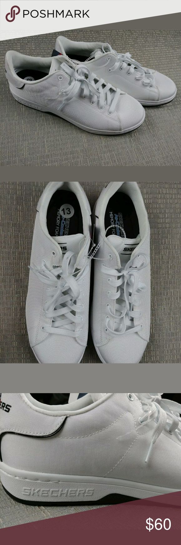 Skechers White Lace Up Memory Foam Air Cool Sz 13   New With Tag   SKECHERS  MEN'S SHOES  LACE  WHITE  SIZE 13 Skechers Shoes Sneakers