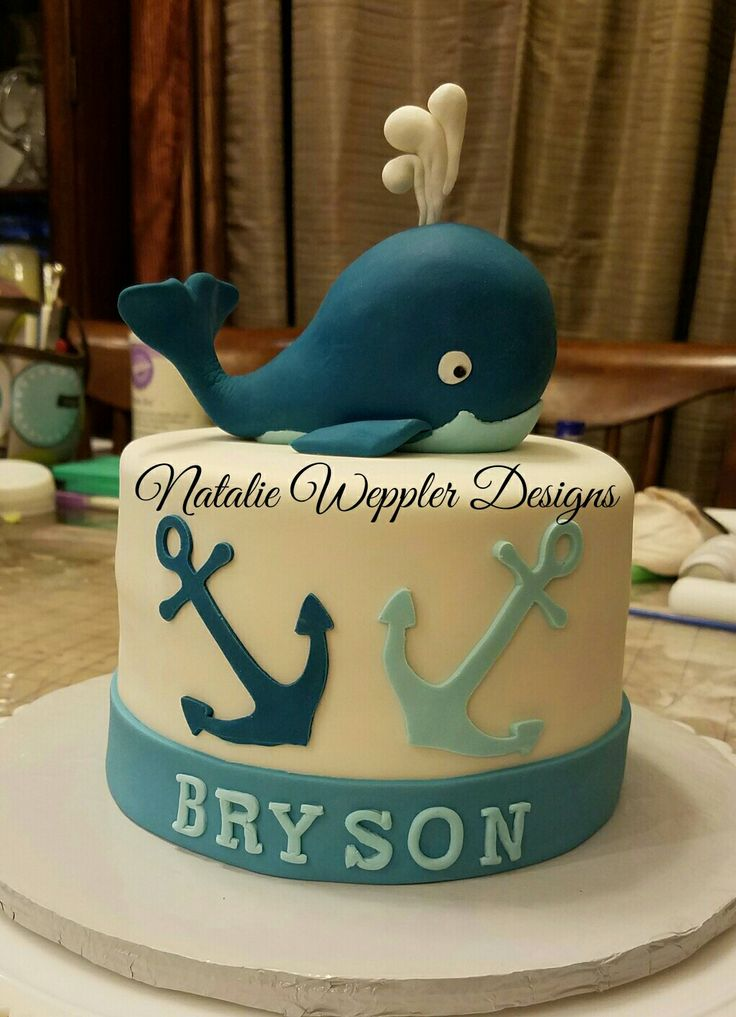 This Baby Shower Cake Features A Nautical Theme With A Baby Whale And  Anchors. It