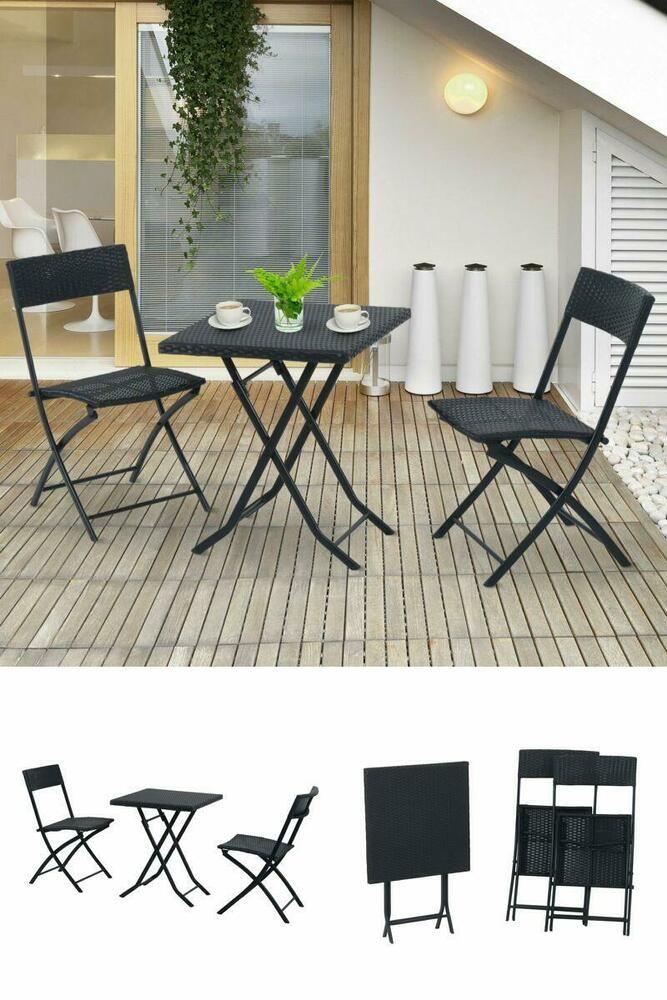 Balcony Bistro Set Outdoor Patio Garden Folding Furniture Set