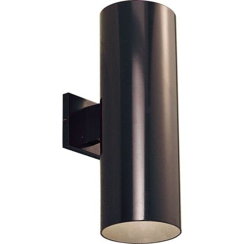 Progress Lighting P5642 Cylinder 2 Light Outdoor Wall Sconce with Metal Cylinder Shade - 18 Tall (White) (Aluminum)