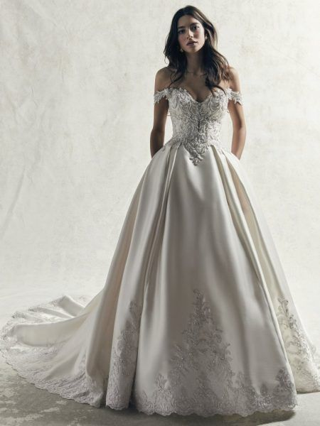 Off The Shoulder Beaded Lace Bodice And Mikado Skirt Ball Gown Wedding Dress