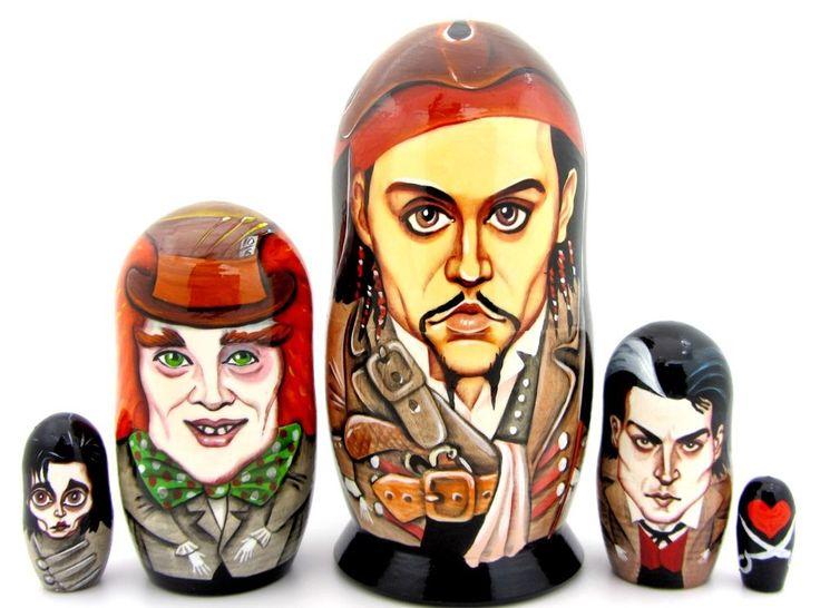 Genuine Russian nesting dolls JOHNNY DEPP Jack Sparrow Mad Hatter Sweeney Todd 5