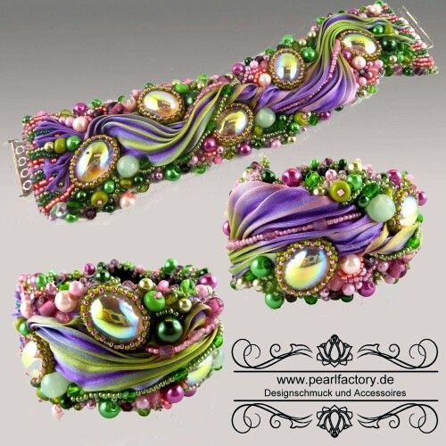 Bracelet, bead embroidered, silk shibori