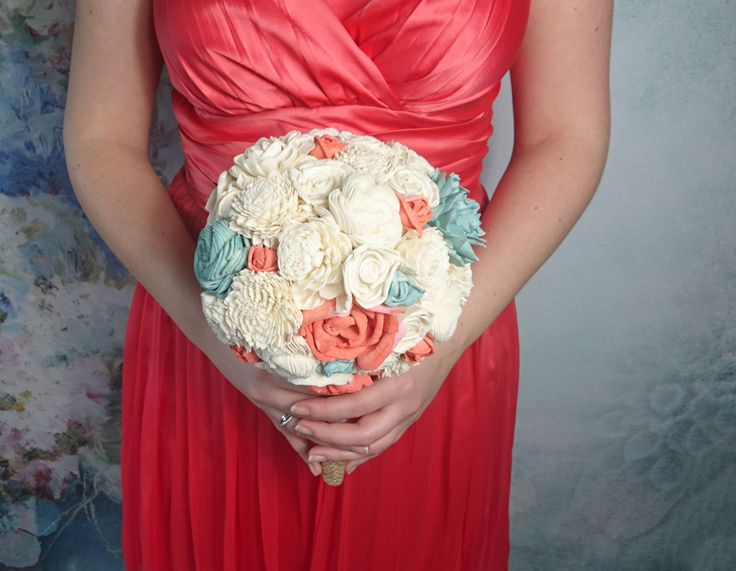 MEDIUM ivory mint Coral reef rustic beach summer wedding BOUQUET sola Flowers Burlap lace Bridesmaid toss flower girl roses vintage custom - pinned by pin4etsy.com