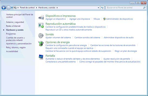 Qué es el Panel de control de Windows 7 y qué hay en él: Hardware y sonido