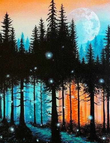 Really cool forest and moon painting with fireflies. Beginner painting idea. I love the misty look.