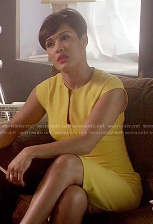 Anika's yellow split-neck dress on Empire.  Outfit Details: http://wornontv.net/51739/ #Empire