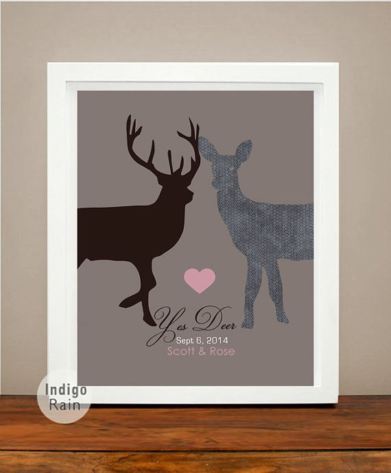 Wall Art Decor YES DEER Buck and Doe Personalized Anniversary, Wedding, Engagement Gift...Beautiful Keepsake! Unique Typography Special