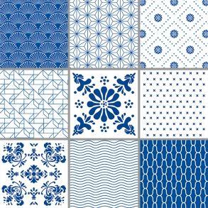 Patterns - Blue Box set of 9 transparent stickers. Price 42,7 € Sæt med 9 stickers - Blå Mønstre - Gennemsigtig folie Pris 295 dkk.