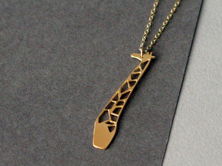 giraffe+necklace+golden+giraffe+giraffe+jewelry+by+WildThingStudio,+$58.00