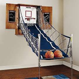Cool ManCaves - basketball bedspread | Decorating a Sporty Themed Room | Interior Decorating Tips #thatseasier #cool #mancaves