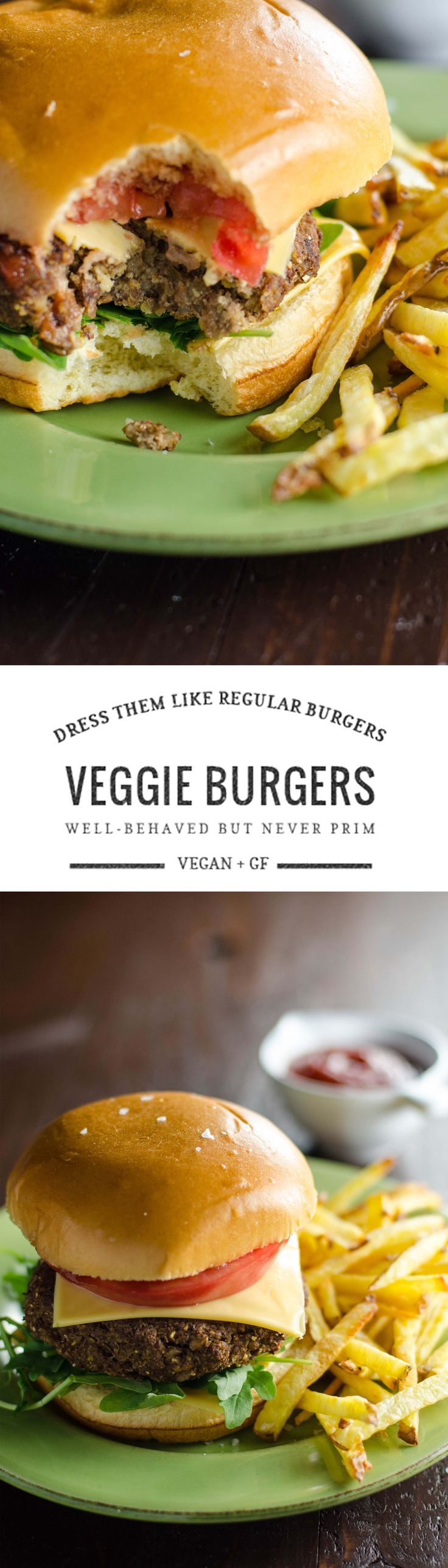 These really good veggie burgers have a great, savory flavor profile and are nice and sturdy, so you can treat them just like a regular burger. Vegan + GF.