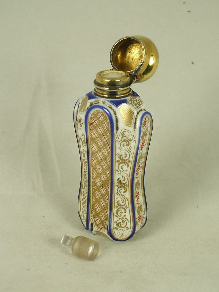 Antique Bohemian Cameo Carved Overlay Painted AND Gilded Glass Perfume Bottle | eBay