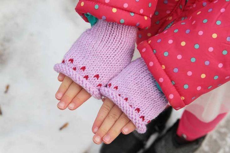 Návod na dětské pletené bezprstové rukavice. Knitting pattern how to knit kids fingerless mittens