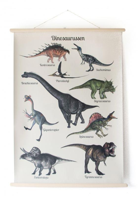 Schoolplaat Dinosaurus Een prachtige blikvanger en helemaal hip voor aan de muur! Deze nieuwe schoolplaat met dinosaurussen in een vintage jasje!  Het blijft een gek idee dat deze beesten op onze aarde hebben rondgelopen. Van de Tyrannosaurus tot de vlieg -