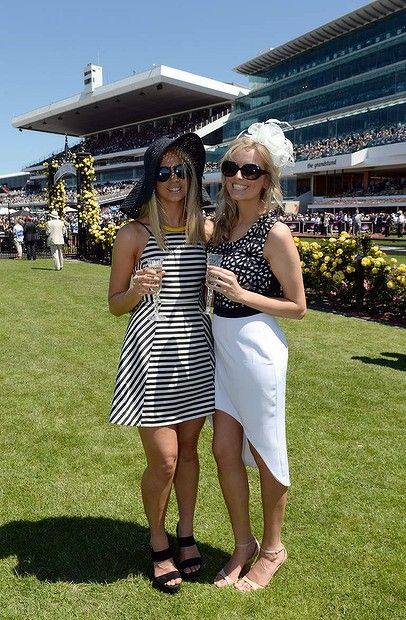 Emily Flower (21) and Ruby Koop (20) at the Victorian Derby Day at Flemington. 2nd November 2013.