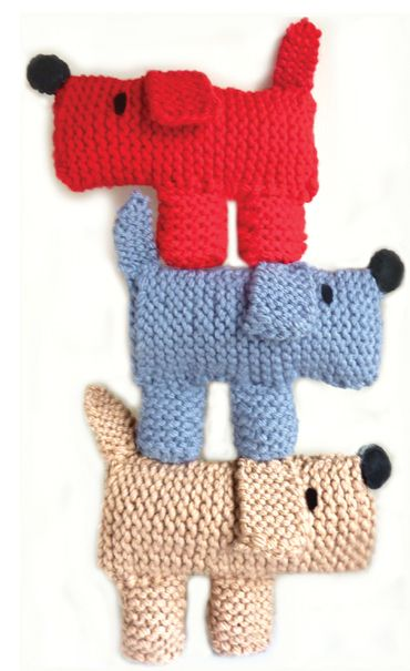 Scruff the knitted dog - how lovely to stitch to a child's cushion  no pattern attached but links to magazine source.  I think I could make these without a pattern.
