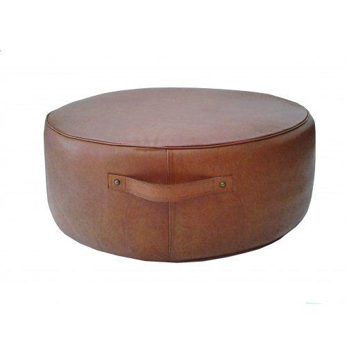 Leather Pouffe Large - Tan