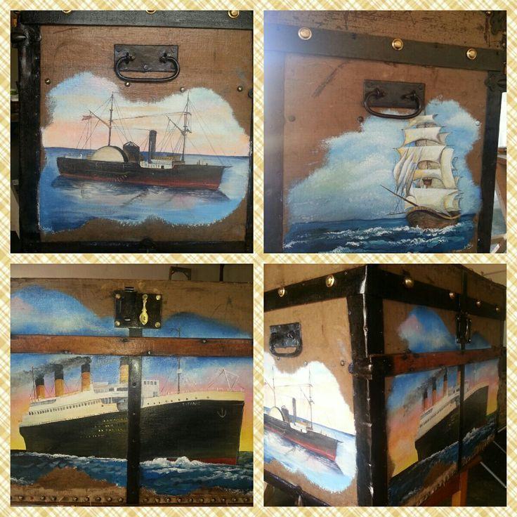 Ships on the sea Treasure chest, Acrylic