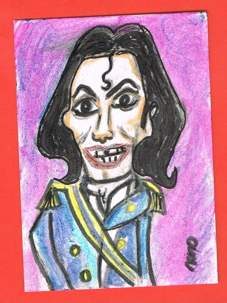 ACEO original Michael Jackson Sketch Card Europe Colored Pencils Pigmented Ink  #Miniature