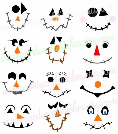 Scarecrow Faces SVG - Scarecrow SVG - Autumn SVG -  Digital Cutting File - Graphic Design - Instant Download - Svg, Dxf, Jpg, Eps, Png by cardsandstitches on Etsy