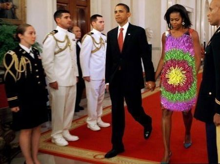 haute mess  Definitely NOT Jackie Kennedy!!!!  Maybe she is the PARTY PINATA????  Is this Cinco de Mayo at the White House?