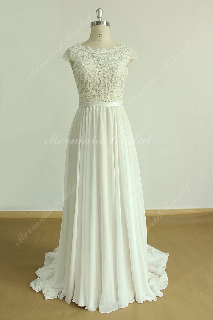 Romantic Aline chiffon lace wedding dress,boho dress,bohemian wedding dress,bohemian bridal gown with scallop open back and Champagne lining