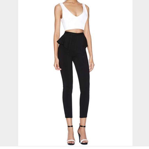 Nasty gal Skinny Peplum Pant Stretch bengaline high waisted black skinny peplum pant. Super cute! Never worn!! Nasty Gal Pants Trousers