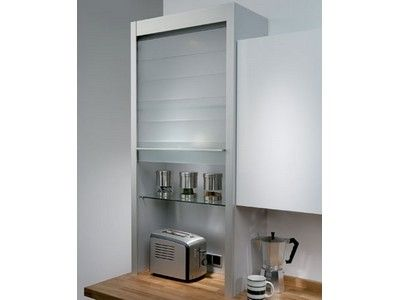 The Hafele glass tambour unit is a modern twist on a kitchen dresser unit, particularly where you have limited space.