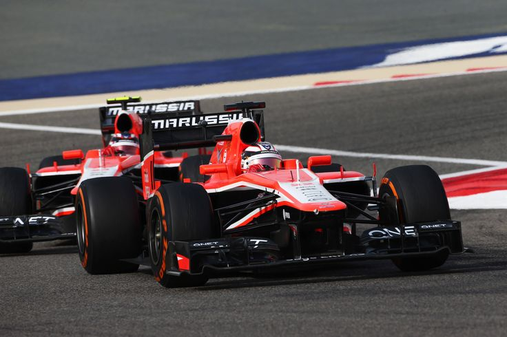 Jules Bianchi leading team-mate Max Chilton, Marussia-Cosworth MR02 - 2013 Bahrain Grand Prix, Sakhir [5184x3456]