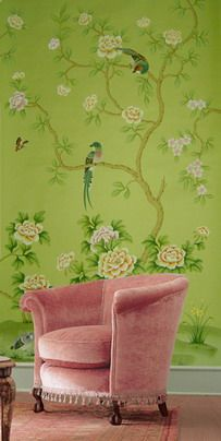 vintage pink velvet chair and amazing green wallpaper