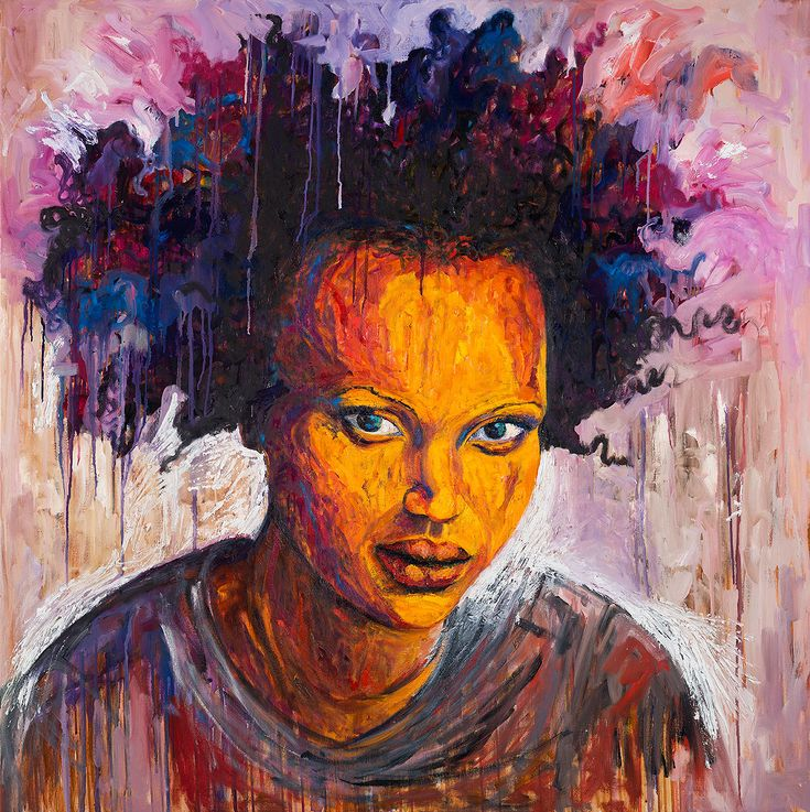 Portrait of a powerful afrowoman. Her hair is her strengh. Her eyes are deep. She is a proud black woman. African Women, African Art, Mixed Media Canvas, Woman Painting, Powerful Women, Black Art, Her Hair, Roots, Black Women