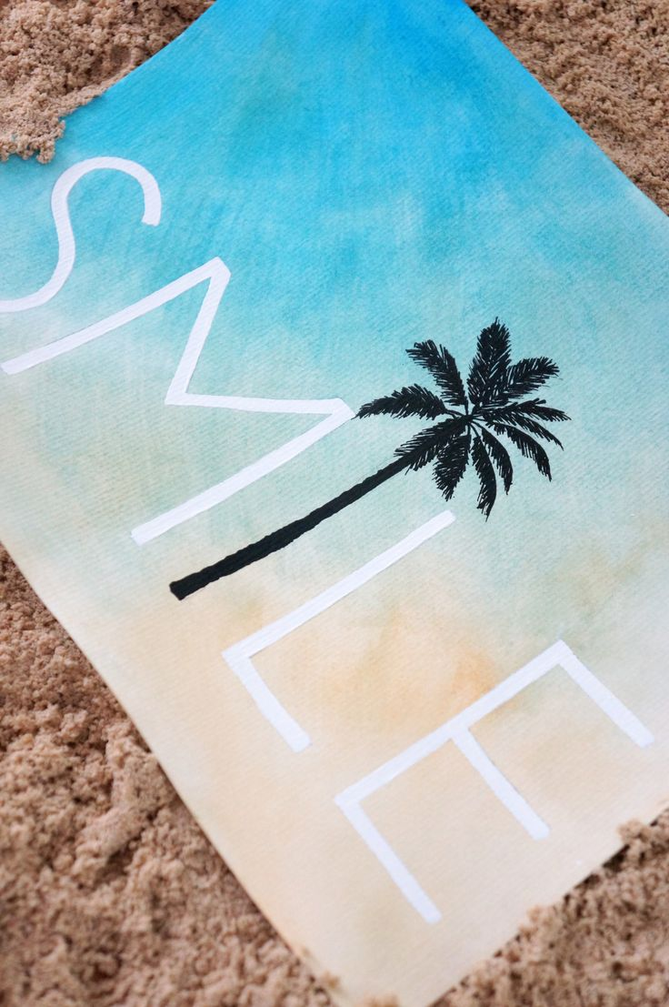 SMILE Palm Tree Wall Art Hand Painted Watercolor Print... perfect beach home decor