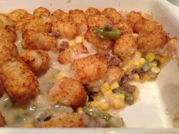 Maybe it's the Minnesotan in me, but I love me some tater tot hot dish. It might be the most delicious thing on the planet. Here's a good recipe for it :-)