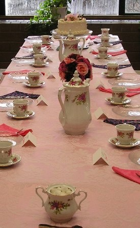Setting for the main table (adult guests) for Charlotte's Dorothy Dinosaur tea party.