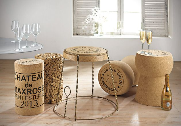 Champagne Inspired Side Table Made From Cork