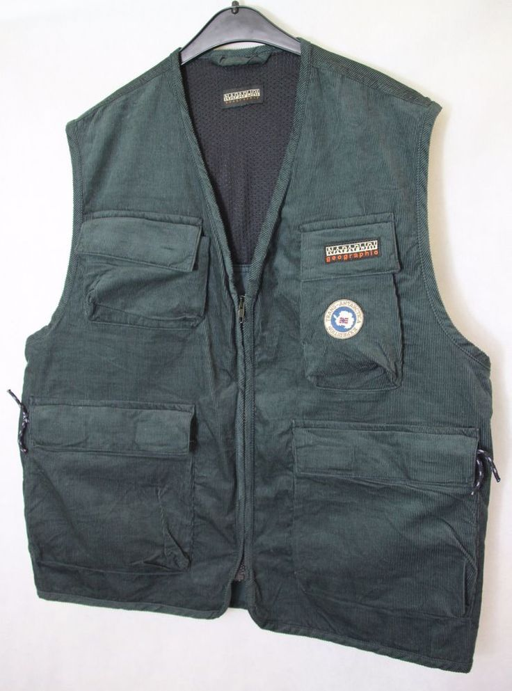 Mens NAPAPIJRI GEOGRAPHIC Casual Active Multipocket Vest Gilet sz M Medium Green #Napapijri #GiletsBodywarmers