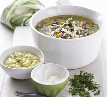 Mexican chicken & wild rice soup recipe - Recipes - BBC Good Food