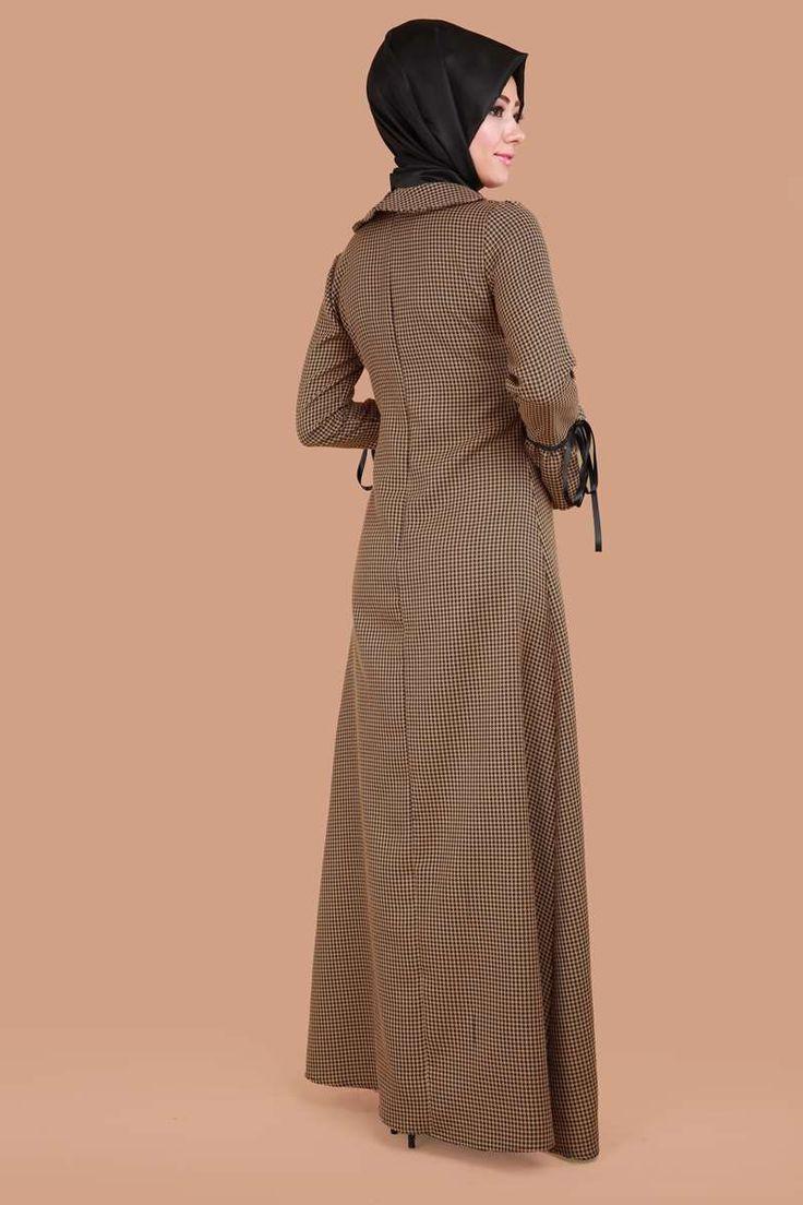 Kazayağı Desen Volan Kol Elbise BRN81475-S Hardal