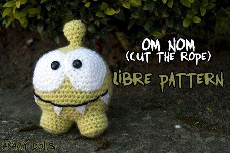 Crocheted Om Nom from Cut the Rope - FREE Amigurumi Crochet Pattern and Tutorial ༺✿Teresa Restegui http://www.pinterest.com/teretegui/✿༻